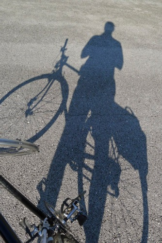 Shadowed self-portrait with an old Schwinn,  my yearly homage to Lee Friedlander