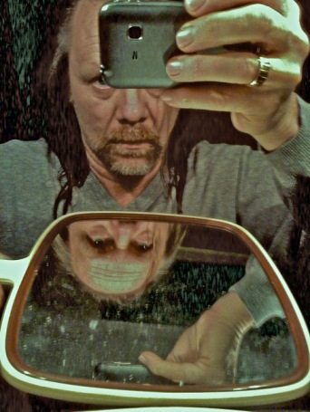 Double reflection, Cheap cellphone Self-portrait, February 8, 2014