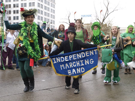 Mary and her son lead the Springfield Independent Band in their yearly appearance at Springfield's St. Patrick's Day parade.