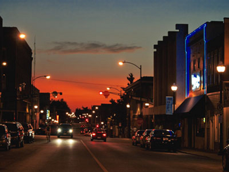 The sun sets on Walnut Street.