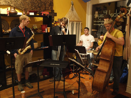 The Bluetones Jazz Sextet, played for May's First Friday Artwalk