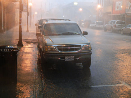 A tornado was reported on the ground in Republic. This a view of South Street in downtown Springfield during the storm.