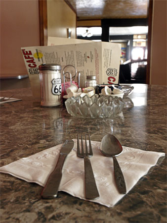 The mis-matched place setting at The Rte 66 Cafe lends itself to the homey atmosphere.