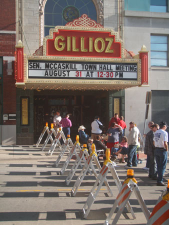 Waiting for Senator Claire McCaskill to arrive at the Gillioz Theater