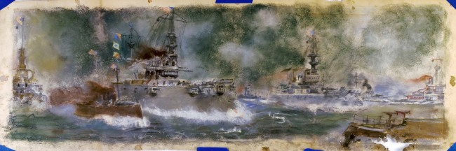 Would anyone tell me the US fleet as depicted in the pastel drawing. The drawing was found in a Springfield, MO flea market. Please click the above image for a larger view.