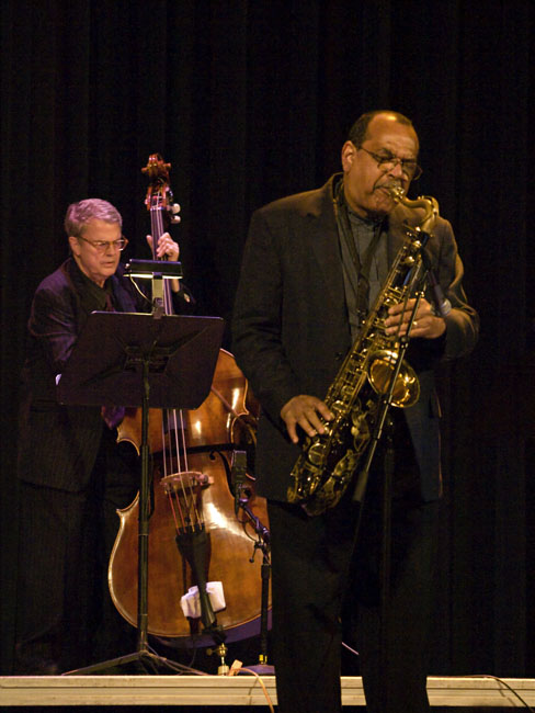 Charlie Watts on tenor sax and Charlie Haden on bass of Quartet West performed at the first annual Springfield Jazz Festival held at the Gillioz Theater.