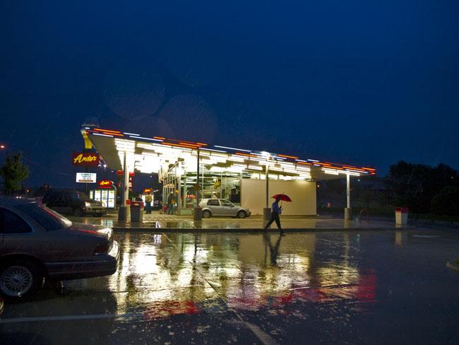 Frozen custard and hard rain.
