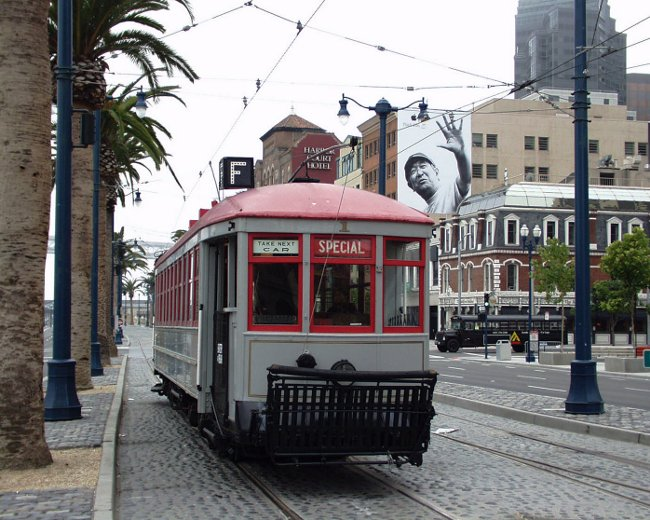 A view of a cable car on San Francisco's Embarcedero