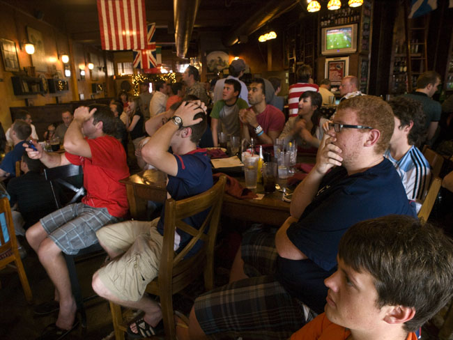 The fans felt every misssed shot on goal during the US versus ENG match this afternoon at the Farmer's Gastro Pub.