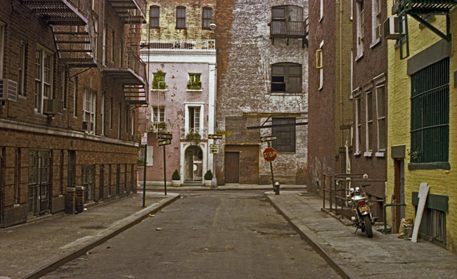 Walking up Minetta Street towards Minetta Lane in the Village, circa 1977