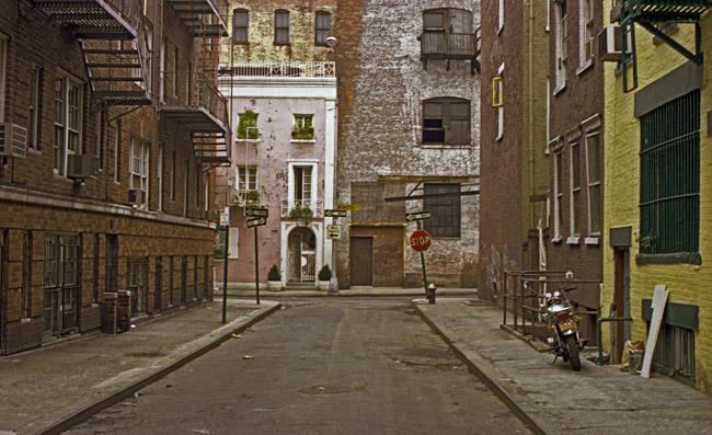 Walking up Minetta Street towards Minetta Lane in the Village, circa 1977