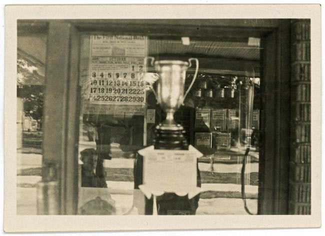 The front window of my Grandfather's (Walter Sprick) Sinclair station, circa 1926