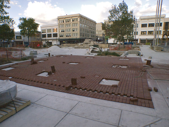 The bricks are finally going down on Park Central Square