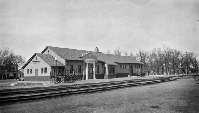 The Union Pacific railroad depot in Julesburg, Colorado, circa 1929