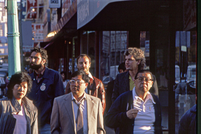 Terry Zukowski, Peter Queal  and Curt Landes in San Francisco's China town, circa 1989