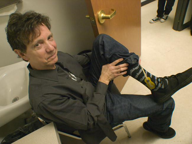 Jimmy Frick showed off his socks in the green room