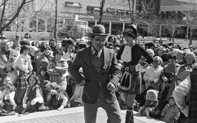 Robert E Smith danced a jig at the 1978 St Patrick's day celebration, circa 1978
