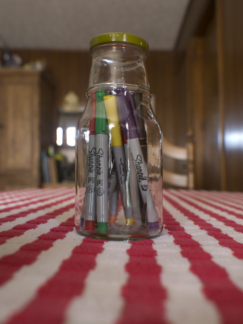 A glass tower of Sharpies, release your imagination