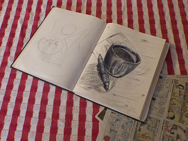 A photographer's drawing of his morning cup of coffee.