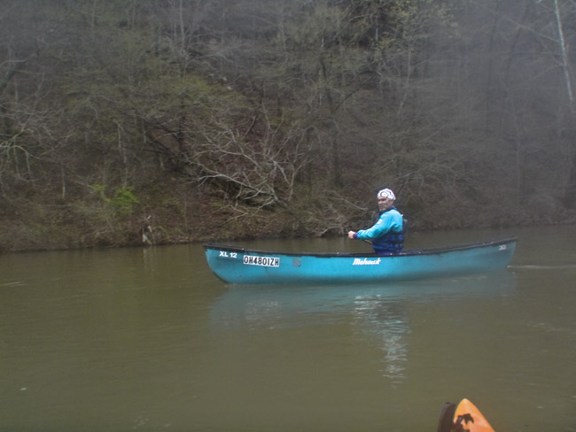 David Massey in his Mohawk canoe on Bull Creek