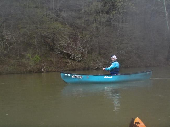 David Massey in his Mohawk canoe on Bull Creek