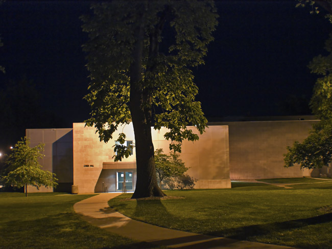 The backside of Cheek Hall at Missouri State University at night