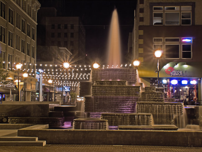 Lawrence Halprin's Park Central Square fountain at night.