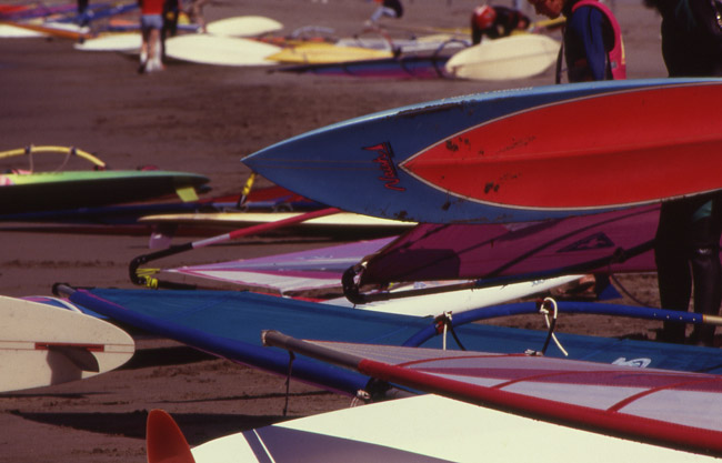 Windsurfers in San Francisco's Marina district. circa 1992