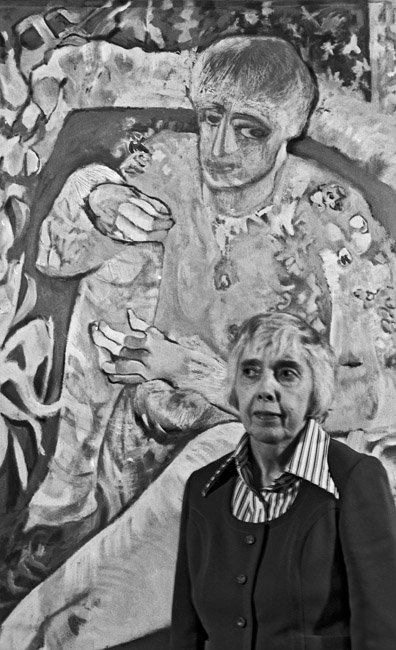 "Edith West and her painting ""Red Edith"" circa 1976"