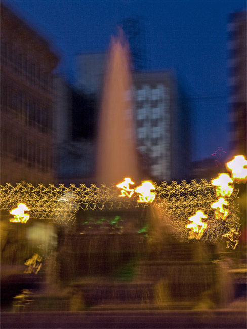 A hand held exposure of the Park Central Square fountain