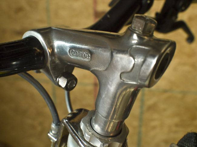 "A vintage ""Compe"" bicycle handlebar stem off an old Raleigh Record"