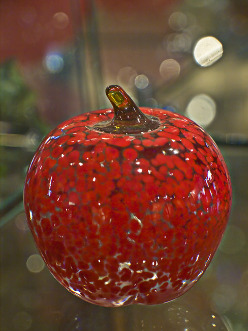 A red glass apple from Springfield Hot Glass Studio