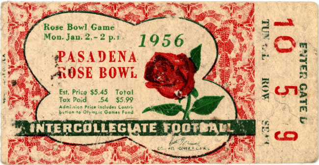 1956 Rose Bowl ticket stub