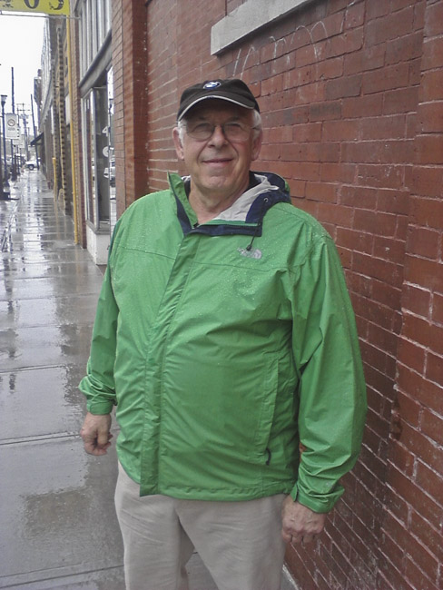 A portrait of Jerry Hagerman in the drizzling rain
