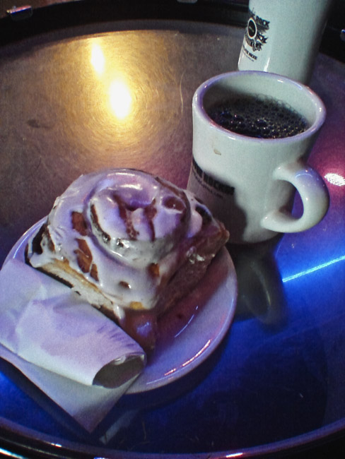 Bass drum, Cinnamon roll and two cups of Coffee