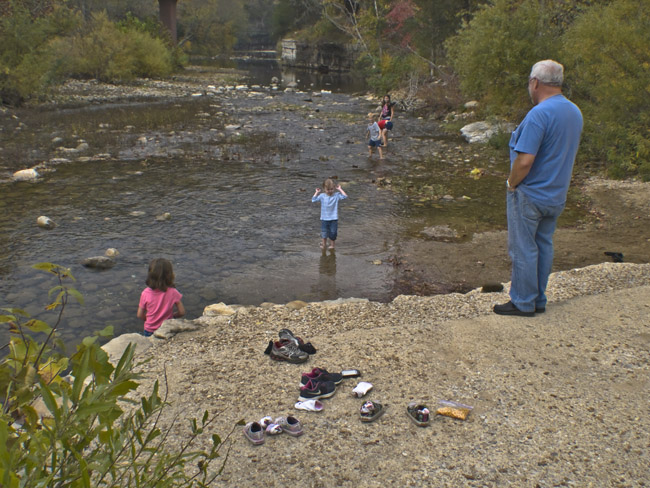 Hanging out with the grandkids at the Ponca put-in on the Buffalo River