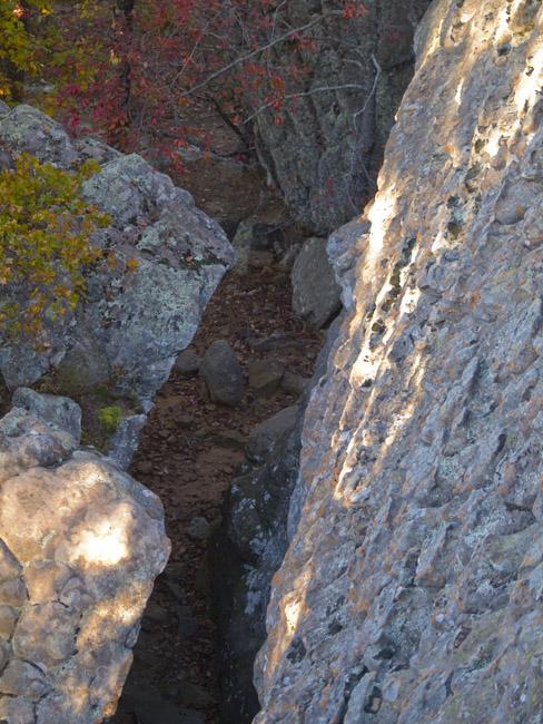 Rock lined passageway