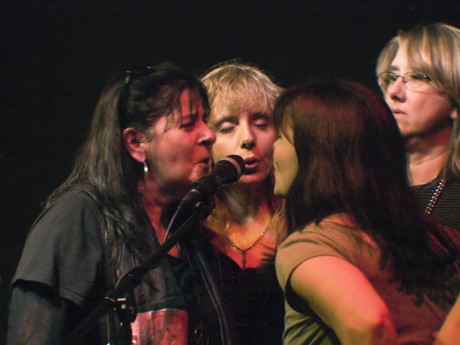 """Terry Cone, Jenny Vineyard, Marian Painter and Shannon Stine sang the chorus of """"Hallelujah"""" for Jim"""