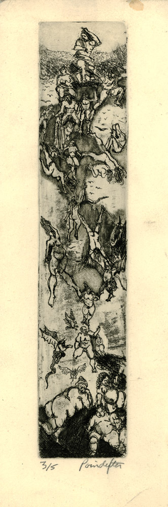 """David Poindexter's etching """"Dantes Descent into the Inferno"""" circa 1978"""