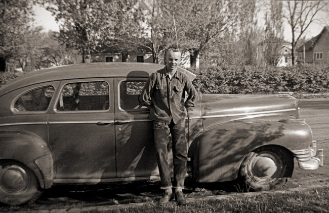 A portrait of my father at 17 in front my mom's house in Julesburg, Colorado, circa 1952