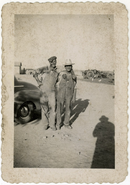 My Godfather  Emil Ciemnoczolowski and my great grandfather Peter Radke posed for a snapshot on the farm.