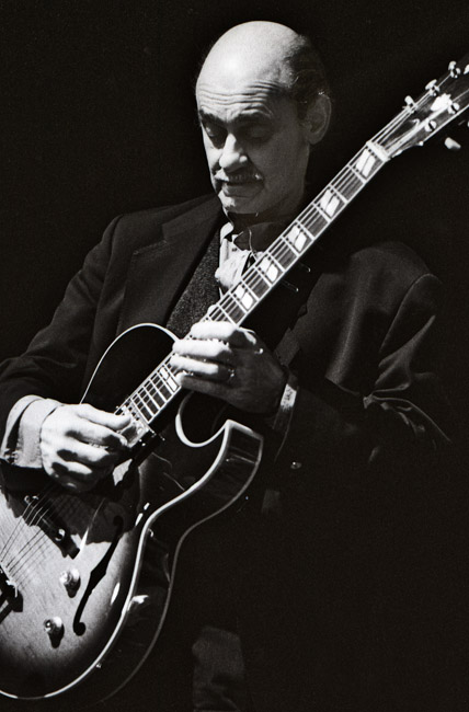 A portrait of Joe Pass on stage at Yoshi's on Claremont in Oakland, California, circa 1994