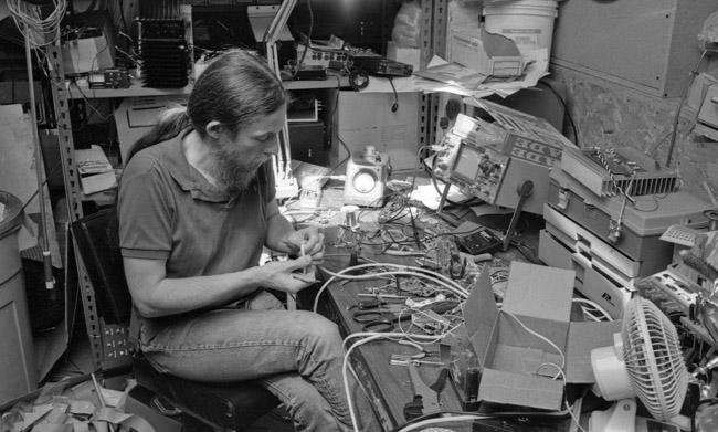 Stephen Dunifer's workbench, circa 1994