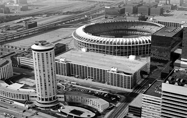 Busch Stadium viewed from the windows of the St Louis Arch, circa 1976