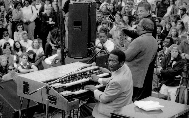 Jimmy Smith, Hammond B-3 Organ, Red Holloway, tenor Saxophone, Mark Whitfield , guitar and the multitudes of Jazz lovers at the SFJazz 11th Street Block Party, circa 1995