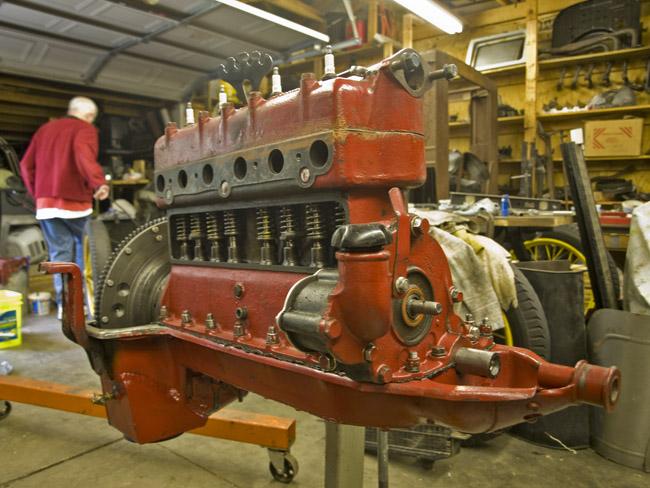The rebuilt engine of Fred's 1925 Model T Speedster