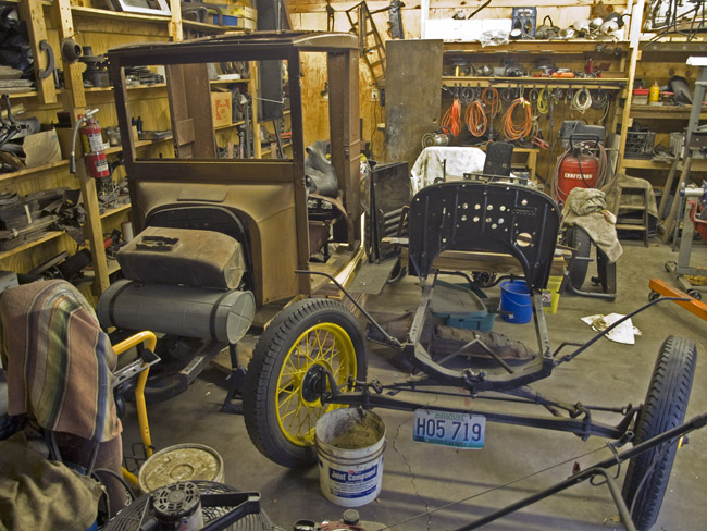 The front end of Fred's Model T speedster