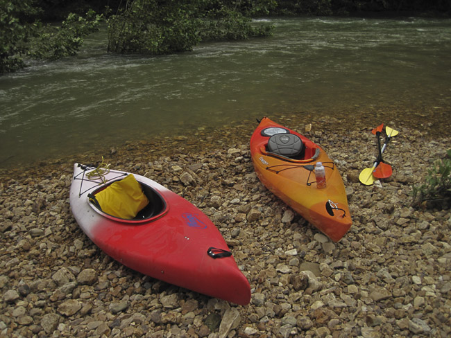 Kayaks on the Jacks Fork