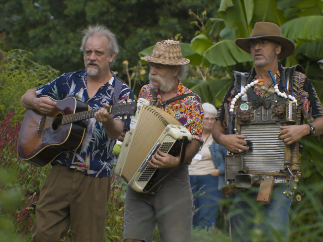 The Garbonzos strolled and entertained at the Master Gardeners Garden Party.