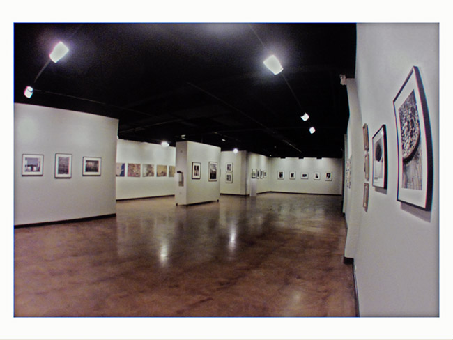 An installation view of James Radke,. 38 years and my eyes have been wide open. The show is a  38 year retrospective of my photographs with four painted ukuleles.